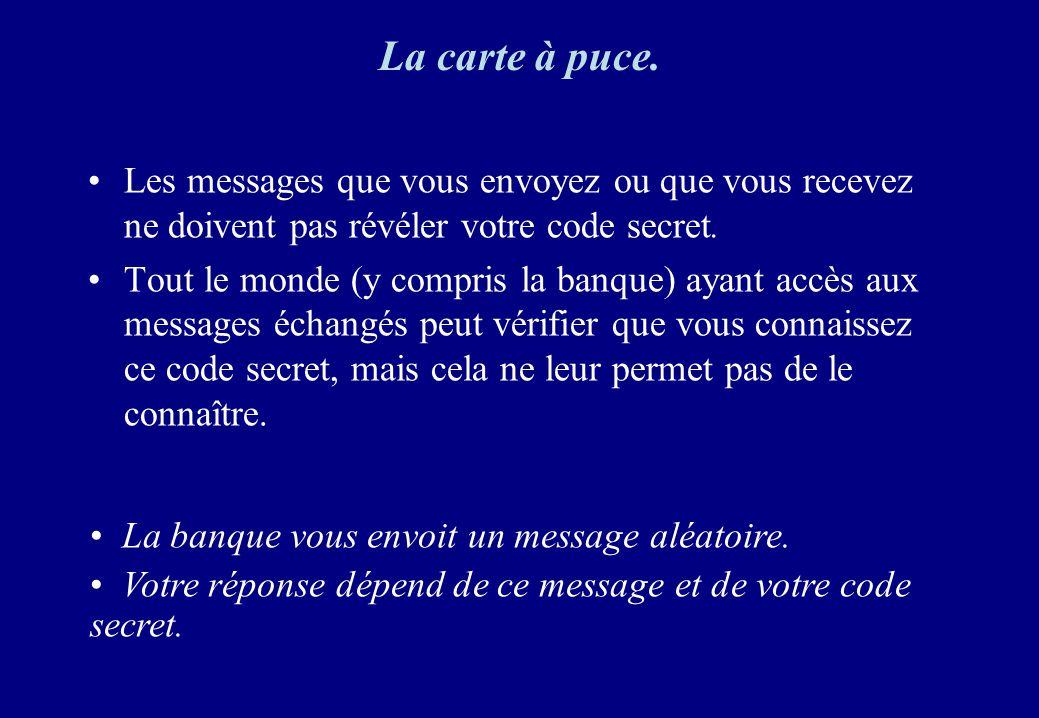 Les messages que vous envoyez ou que vous recevez ne doivent pas révéler votre code secret. Tout le monde (y compris la banque) ayant accès aux messag