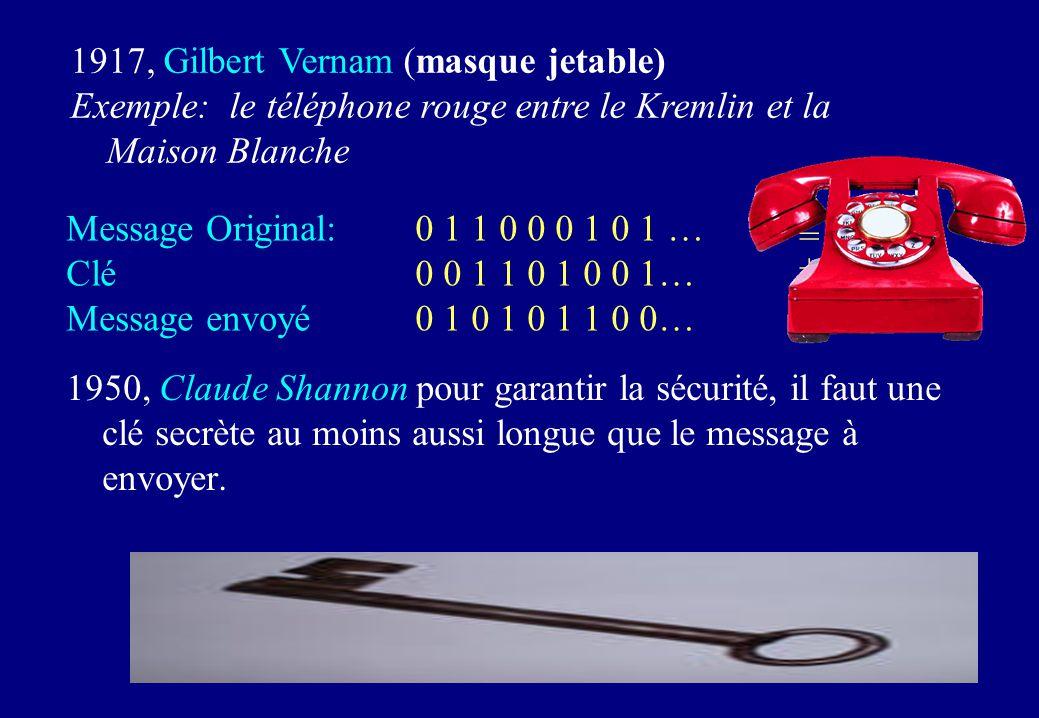 1950, Claude Shannon pour garantir la sécurité, il faut une clé secrète au moins aussi longue que le message à envoyer. 1917, Gilbert Vernam (masque j