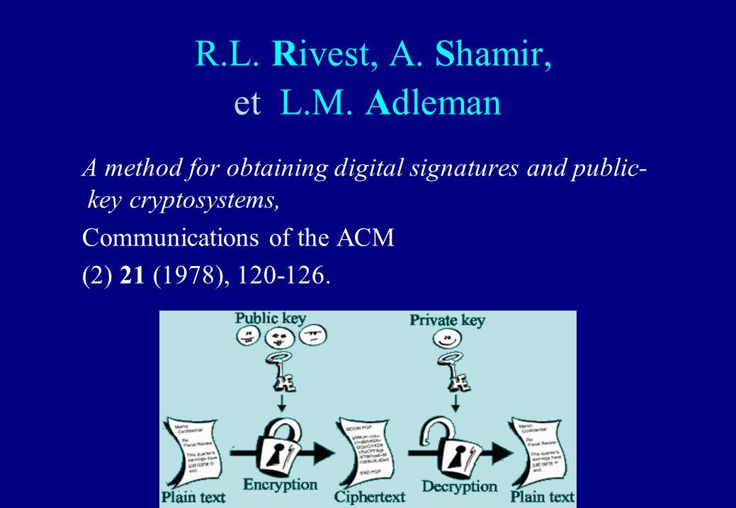 R.L. Rivest, A. Shamir, et L.M. Adleman A method for obtaining digital signatures and public- key cryptosystems, Communications of the ACM (2) 21 (197