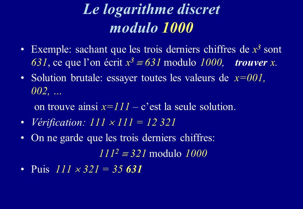 Le logarithme discret modulo 1000 Exemple: sachant que les trois derniers chiffres de x 3 sont 631, ce que lon écrit x 3 631 modulo 1000, trouver x. S