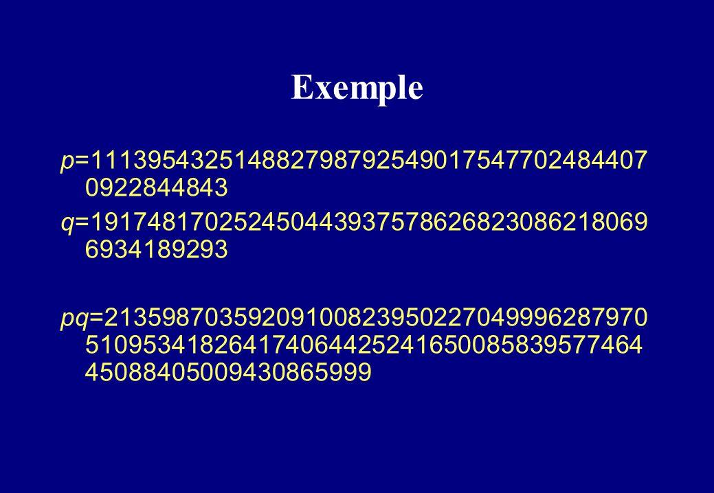 Exemple p=111395432514882798792549017547702484407 0922844843 q=191748170252450443937578626823086218069 6934189293 pq=213598703592091008239502270499962
