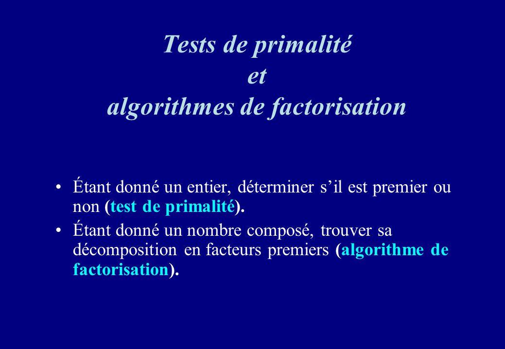 Tests de primalité et algorithmes de factorisation Étant donné un entier, déterminer sil est premier ou non (test de primalité). Étant donné un nombre