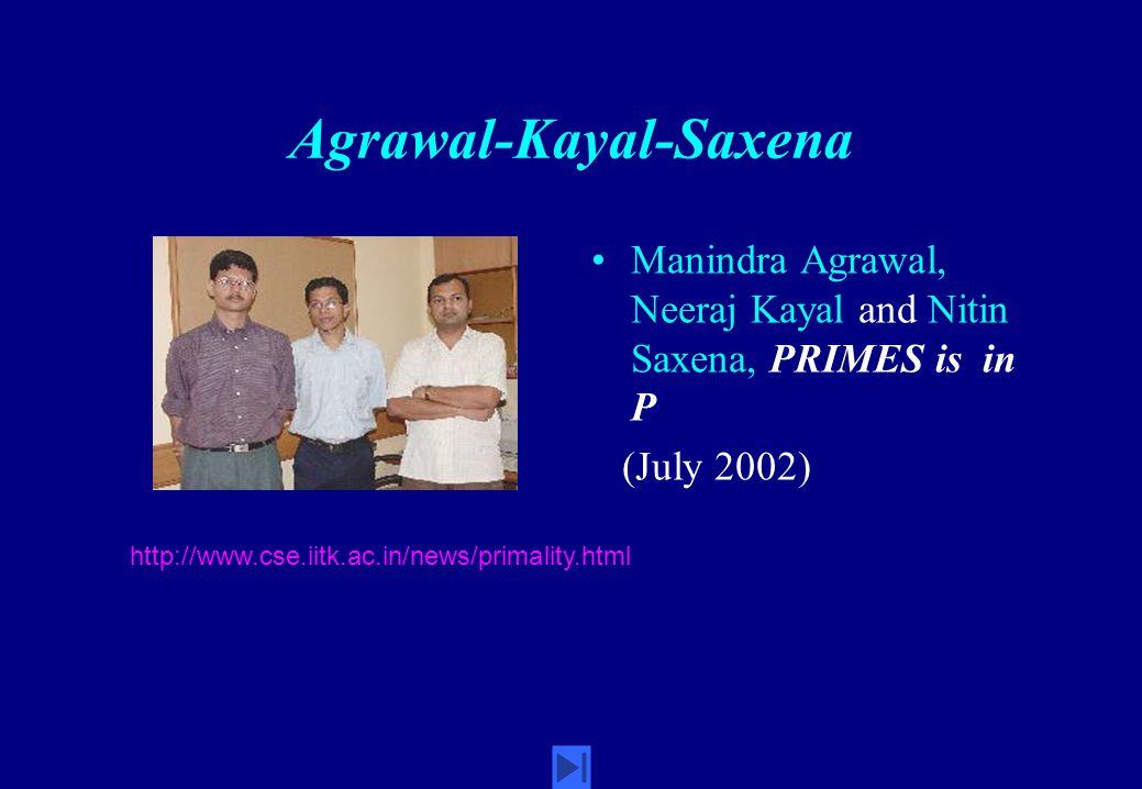 Agrawal-Kayal-Saxena Manindra Agrawal, Neeraj Kayal and Nitin Saxena, PRIMES is in P (July 2002) http://www.cse.iitk.ac.in/news/primality.html
