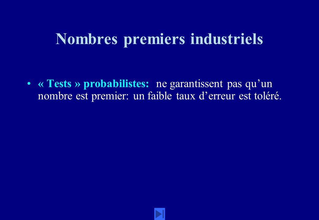 Nombres premiers industriels « Tests » probabilistes: ne garantissent pas quun nombre est premier: un faible taux derreur est toléré.