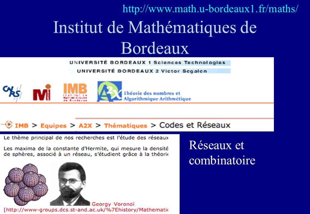 Institut de Mathématiques de Bordeaux http://www.math.u-bordeaux1.fr/maths/ Réseaux et combinatoire