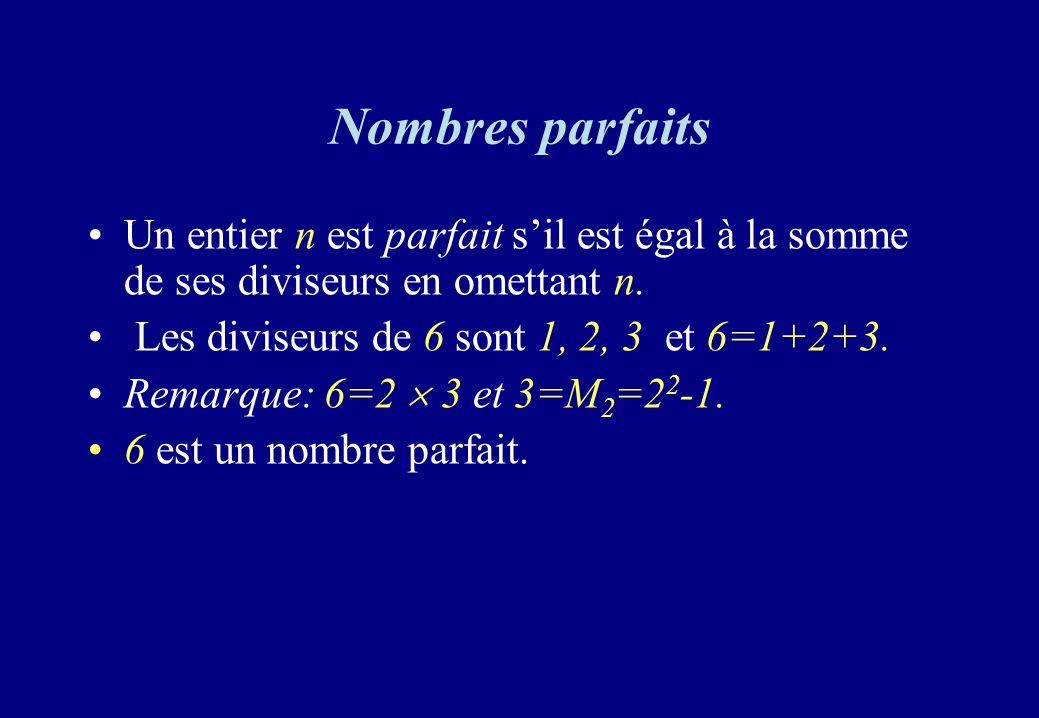 Nombres parfaits Un entier n est parfait sil est égal à la somme de ses diviseurs en omettant n. Les diviseurs de 6 sont 1, 2, 3 et 6=1+2+3. Remarque: