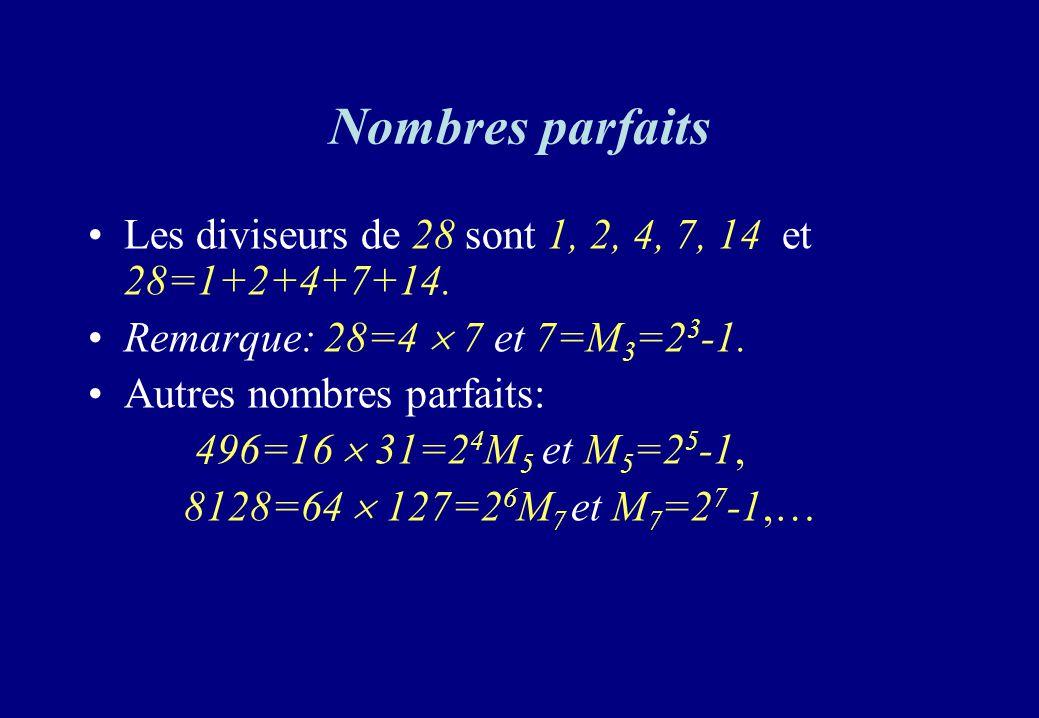 Nombres parfaits Les diviseurs de 28 sont 1, 2, 4, 7, 14 et 28=1+2+4+7+14. Remarque: 28=4 7 et 7=M 3 =2 3 -1. Autres nombres parfaits: 496=16 31=2 4 M