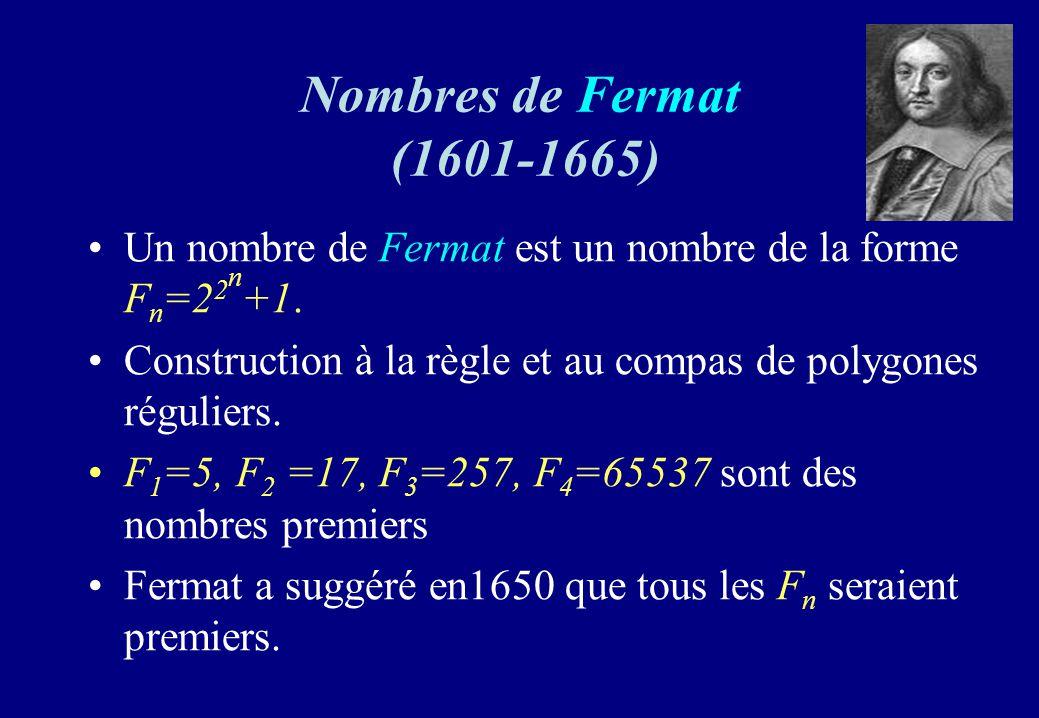 Nombres de Fermat (1601-1665) Un nombre de Fermat est un nombre de la forme F n =2 2 n +1. Construction à la règle et au compas de polygones réguliers