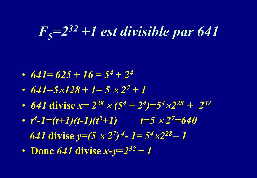 F 5 =2 32 +1 est divisible par 641 641= 625 + 16 = 5 4 + 2 4 641=5 128 + 1= 5 2 7 + 1 641 divise x= 2 28 (5 4 + 2 4 )=5 4 2 28 + 2 32 t 4 -1=(t+1)(t-1