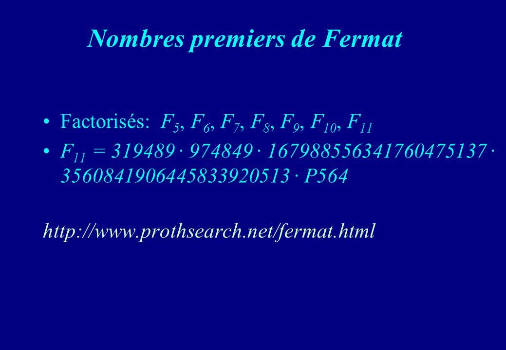 Nombres premiers de Fermat Factorisés: F 5, F 6, F 7, F 8, F 9, F 10, F 11 F 11 = 319489 · 974849 · 167988556341760475137 · 3560841906445833920513 · P