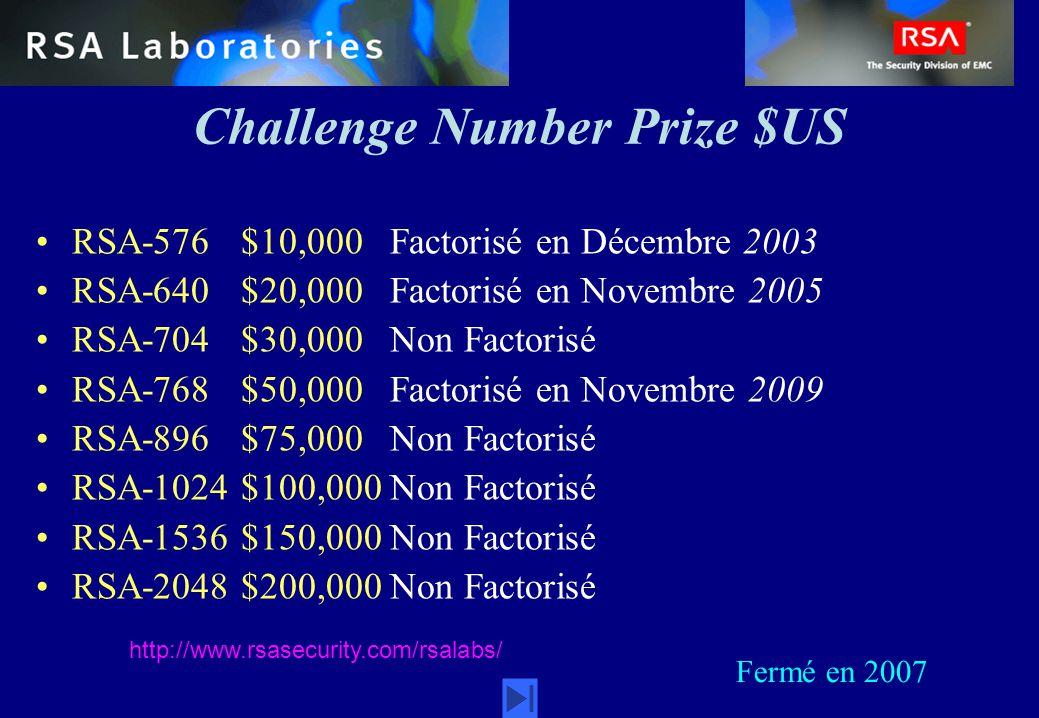 Challenge Number Prize $US RSA-576 $10,000 Factorisé en Décembre 2003 RSA-640 $20,000 Factorisé en Novembre 2005 RSA-704 $30,000 Non Factorisé RSA-768