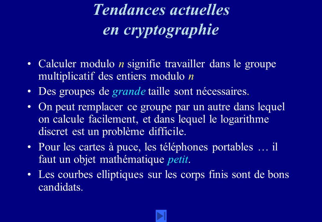Tendances actuelles en cryptographie Calculer modulo n signifie travailler dans le groupe multiplicatif des entiers modulo n Des groupes de grande tai