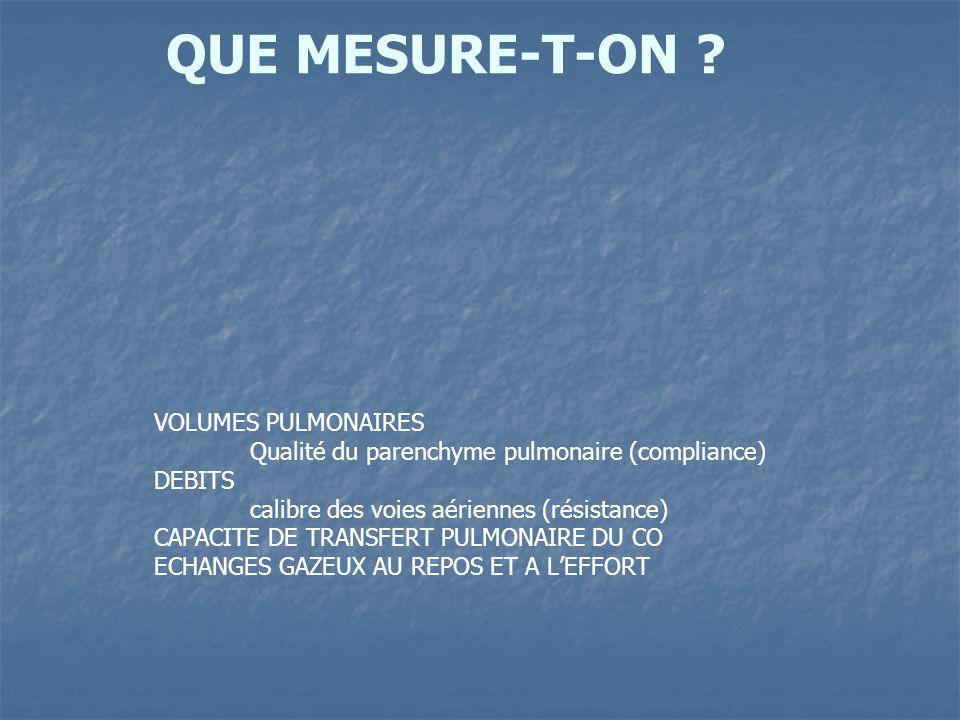 QUE MESURE-T-ON ? VOLUMES PULMONAIRES Qualité du parenchyme pulmonaire (compliance) DEBITS calibre des voies aériennes (résistance) CAPACITE DE TRANSF