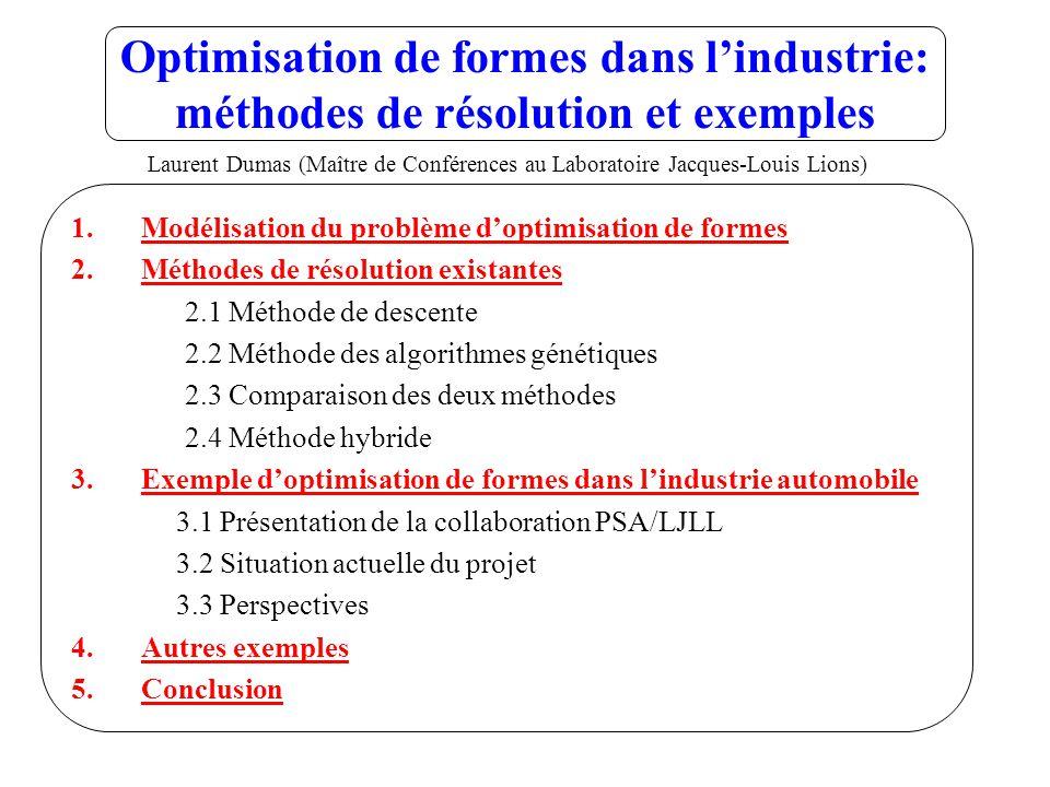Optimisation de formes dans lindustrie: méthodes de résolution et exemples 1.Modélisation du problème doptimisation de formes 2.Méthodes de résolution existantes 2.1 Méthode de descente 2.2 Méthode des algorithmes génétiques 2.3 Comparaison des deux méthodes 2.4 Méthode hybride 3.Exemple doptimisation de formes dans lindustrie automobile 3.1 Présentation de la collaboration PSA/LJLL 3.2 Situation actuelle du projet 3.3 Perspectives 4.Autres exemples 5.Conclusion Laurent Dumas (Maître de Conférences au Laboratoire Jacques-Louis Lions)