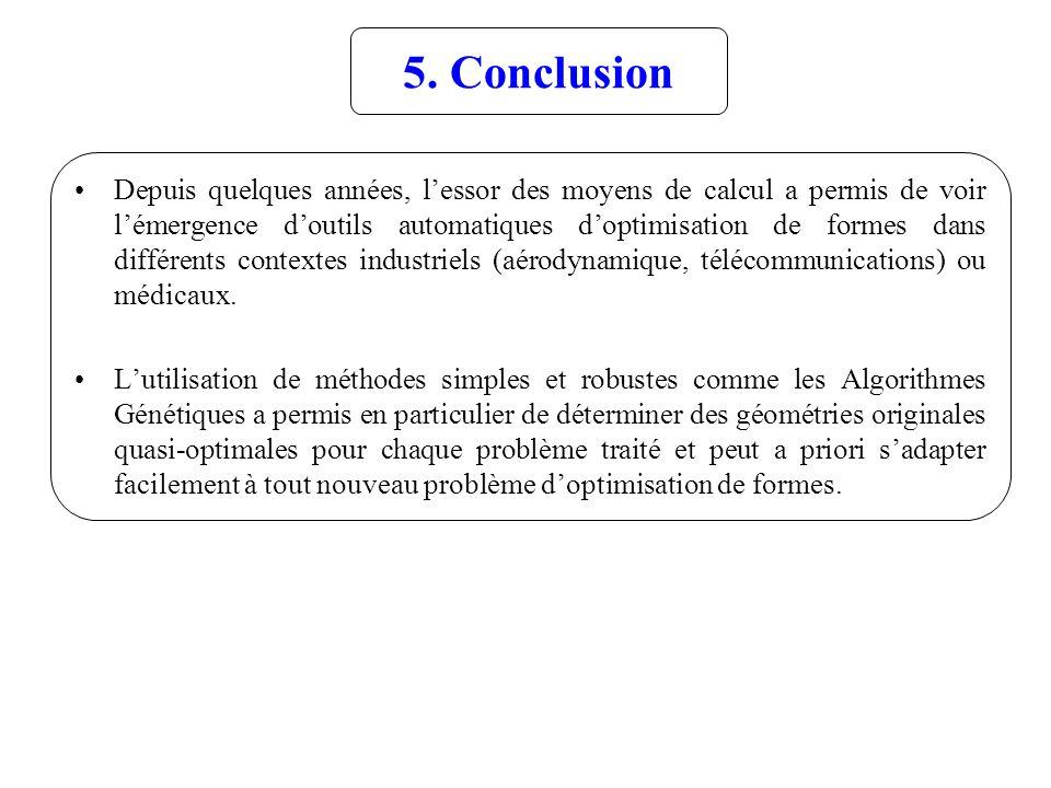 5. Conclusion Depuis quelques années, lessor des moyens de calcul a permis de voir lémergence doutils automatiques doptimisation de formes dans différ
