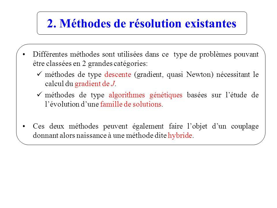 2. Méthodes de résolution existantes Différentes méthodes sont utilisées dans ce type de problèmes pouvant être classées en 2 grandes catégories: méth