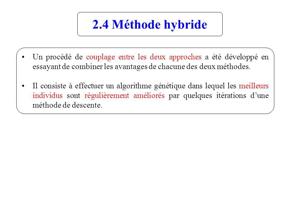 2.4 Méthode hybride Un procédé de couplage entre les deux approches a été développé en essayant de combiner les avantages de chacune des deux méthodes.