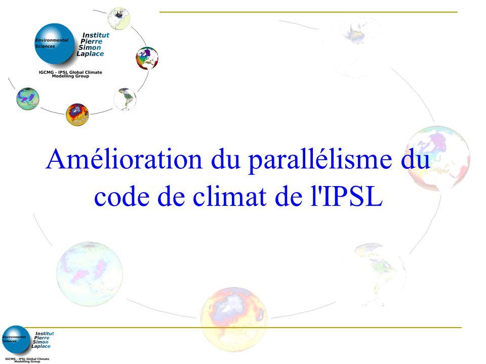 Stratégie en cours (mars 2007) 2007-2011: Continuité de l architecture parallèle-vectorielle initialement utilisée pour développer le modèle du système terre (ESM) de l IPSL Parallélisation de ce modèle pour machine scalaires (approx.