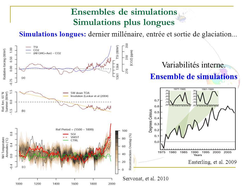 Ensembles de simulations Simulations plus longues Simulations longues: dernier millénaire, entrée et sortie de glaciation...