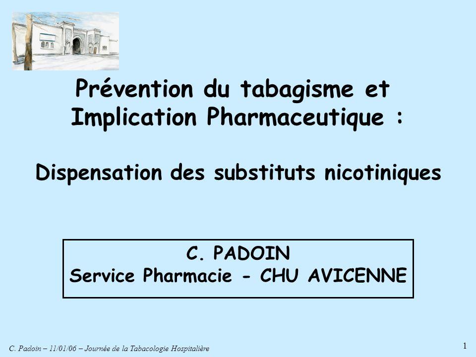 C. Padoin – 11/01/06 – Journée de la Tabacologie Hospitalière 1 Prévention du tabagisme et Implication Pharmaceutique : Dispensation des substituts ni