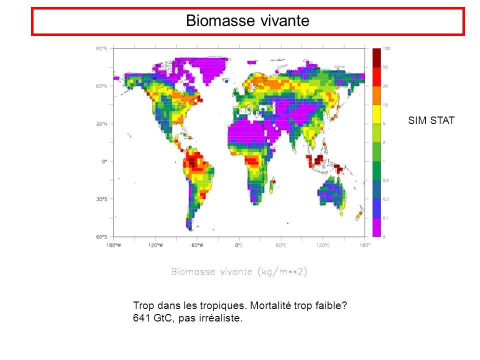 Biomasse vivante Trop dans les tropiques. Mortalité trop faible 641 GtC, pas irréaliste. SIM STAT
