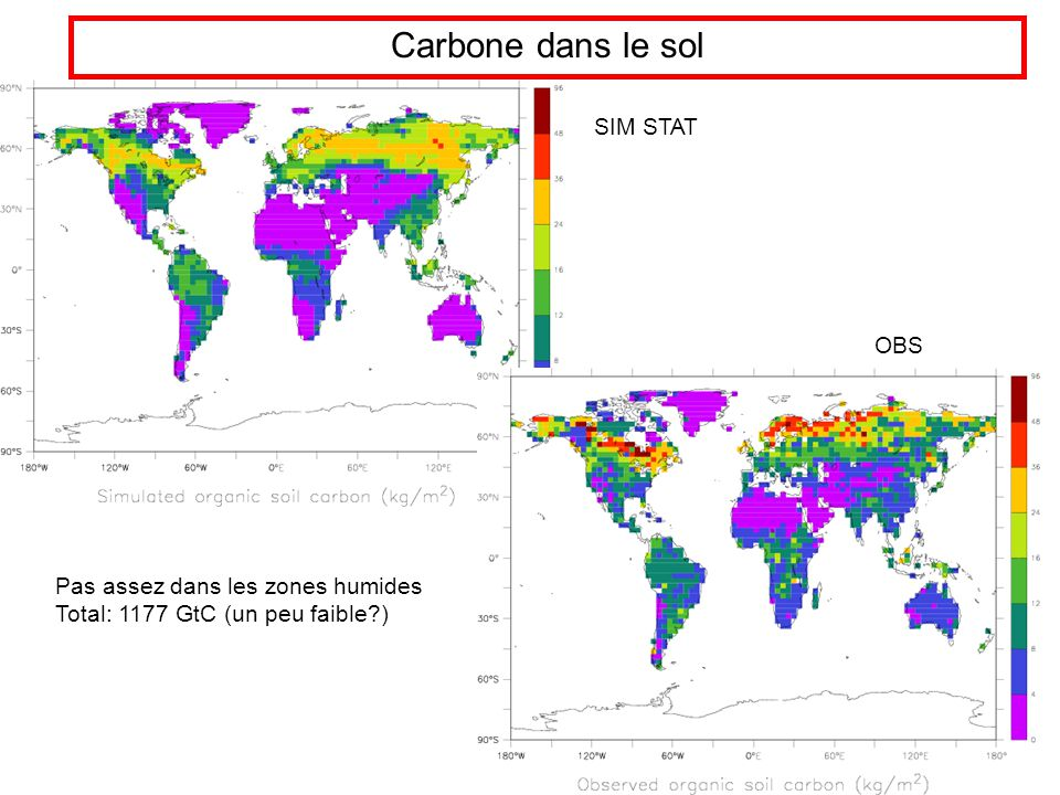 Carbone dans le sol Pas assez dans les zones humides Total: 1177 GtC (un peu faible ) SIM STAT OBS