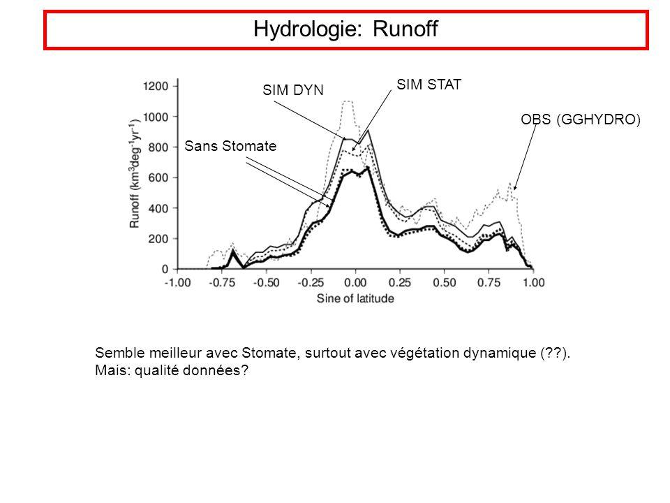 Hydrologie: Runoff OBS (GGHYDRO) SIM DYN SIM STAT Sans Stomate Semble meilleur avec Stomate, surtout avec végétation dynamique (??).
