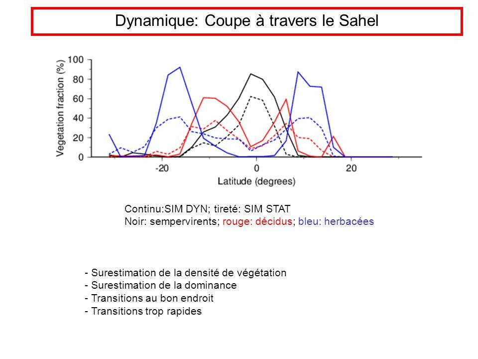Dynamique: Coupe à travers le Sahel - Surestimation de la densité de végétation - Surestimation de la dominance - Transitions au bon endroit - Transitions trop rapides Continu:SIM DYN; tireté: SIM STAT Noir: sempervirents; rouge: décidus; bleu: herbacées