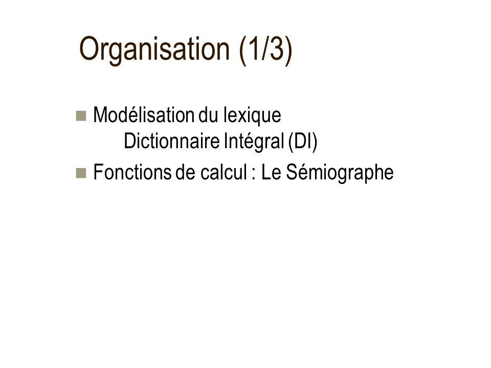Organisation (1/3) Modélisation du lexique Dictionnaire Intégral (DI) Fonctions de calcul : Le Sémiographe