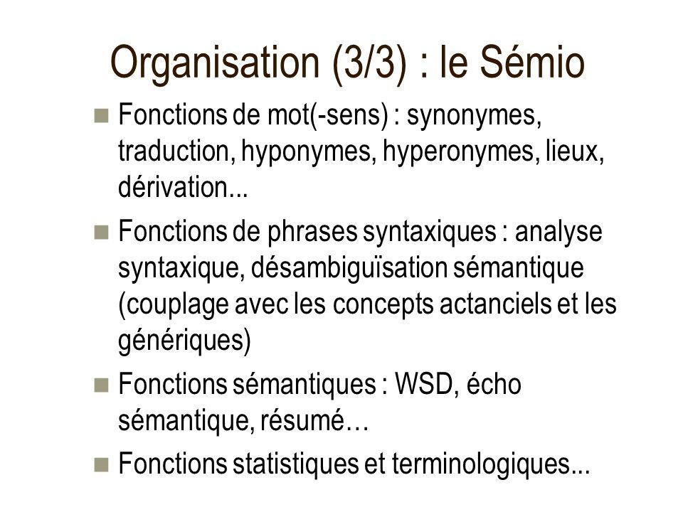 Organisation (3/3) : le Sémio Fonctions de mot(-sens) : synonymes, traduction, hyponymes, hyperonymes, lieux, dérivation... Fonctions de phrases synta