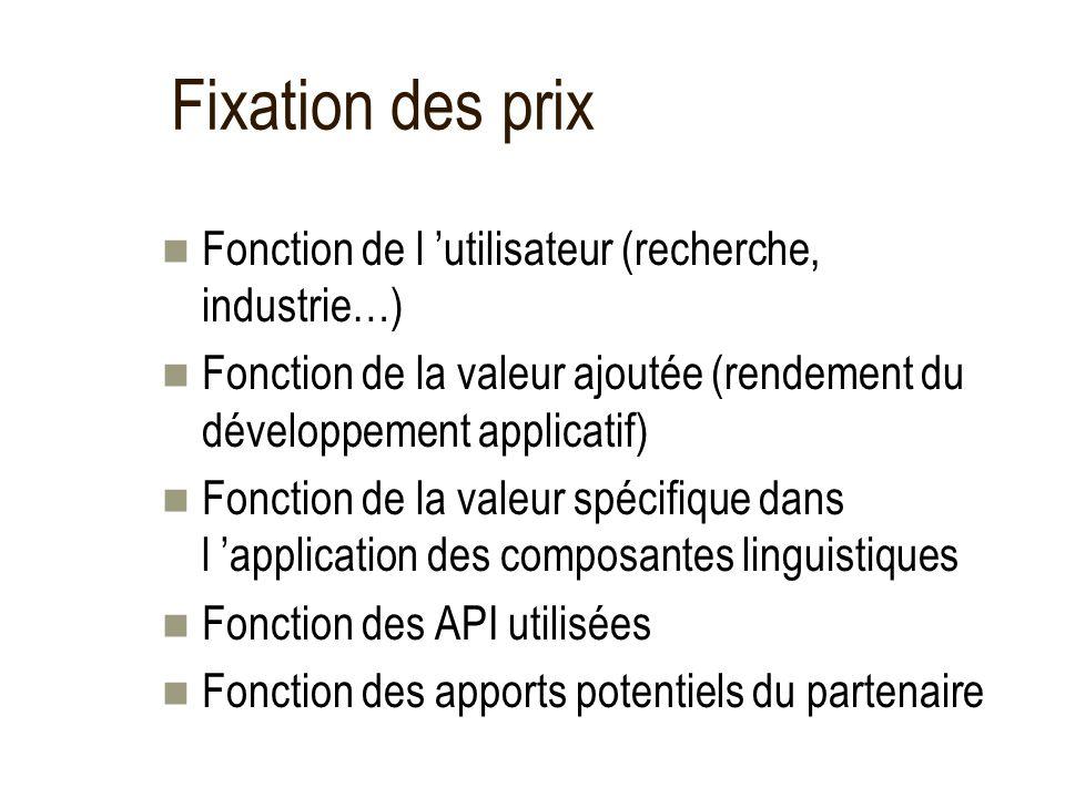 Fixation des prix Fonction de l utilisateur (recherche, industrie…) Fonction de la valeur ajoutée (rendement du développement applicatif) Fonction de