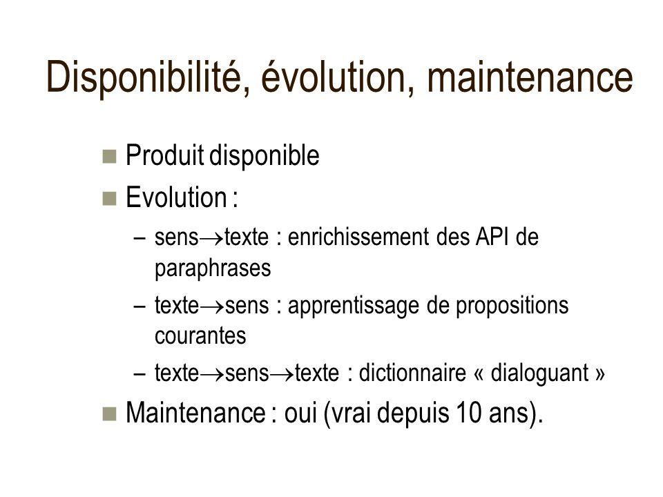 Disponibilité, évolution, maintenance Produit disponible Evolution : –sens texte : enrichissement des API de paraphrases –texte sens : apprentissage d