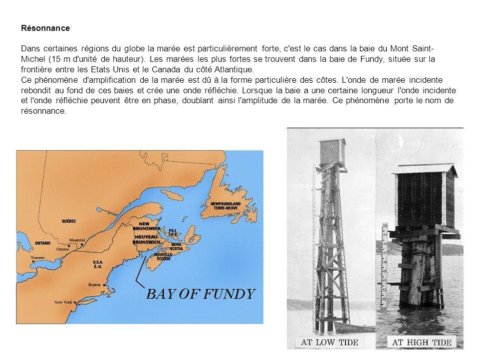 Résonnance Dans certaines régions du globe la marée est particulièrement forte, c'est le cas dans la baie du Mont Saint- Michel (15 m d'unité de haute