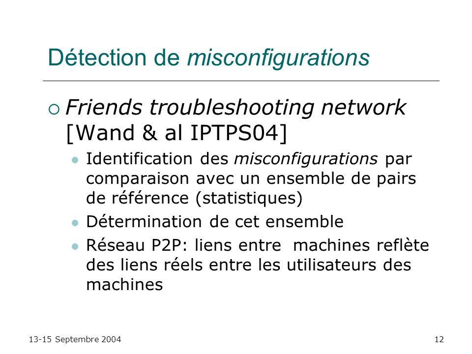 13-15 Septembre 200412 Détection de misconfigurations Friends troubleshooting network [Wand & al IPTPS04] Identification des misconfigurations par com