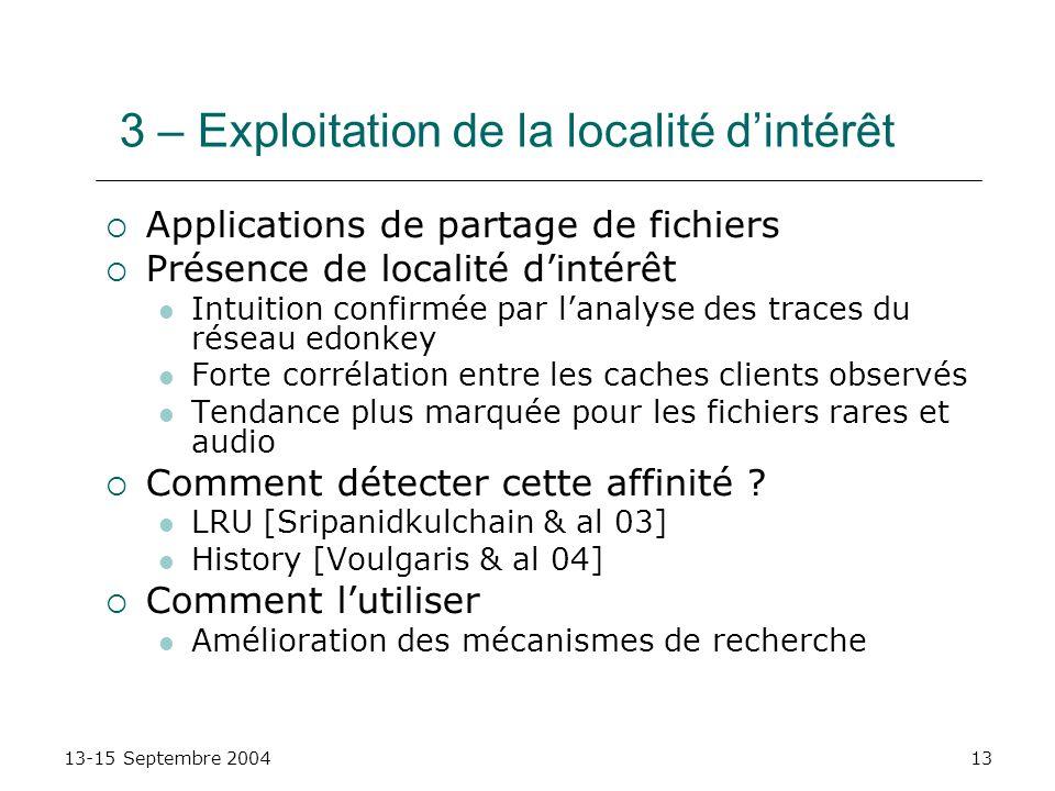 13-15 Septembre 200413 3 – Exploitation de la localité dintérêt Applications de partage de fichiers Présence de localité dintérêt Intuition confirmée