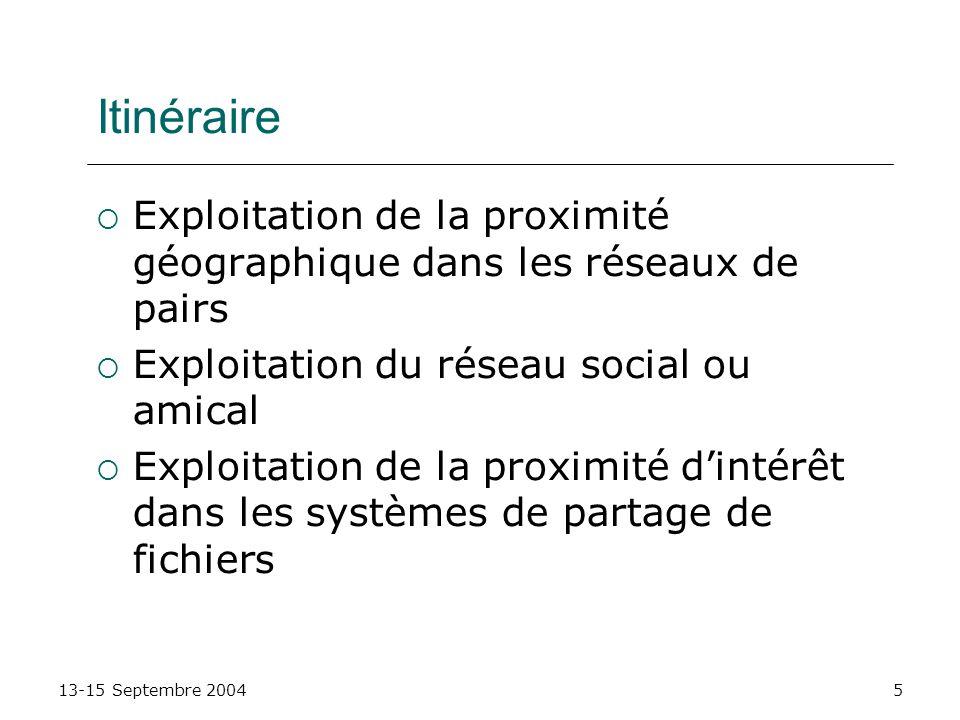 13-15 Septembre 20045 Itinéraire Exploitation de la proximité géographique dans les réseaux de pairs Exploitation du réseau social ou amical Exploitat
