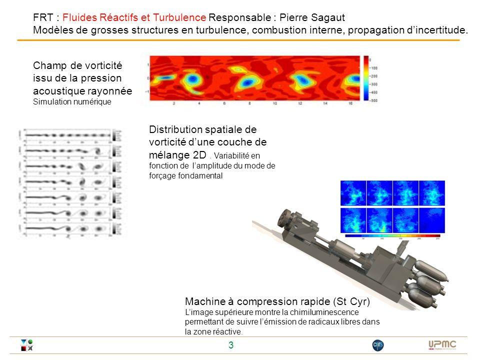3 Champ de vorticité issu de la pression acoustique rayonnée Simulation numérique Distribution spatiale de vorticité dune couche de mélange 2D. Variab