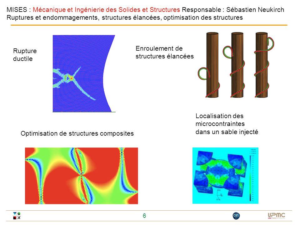 6 Rupture ductile Localisation des microcontraintes dans un sable injecté MISES : Mécanique et Ingénierie des Solides et Structures Responsable : Séba