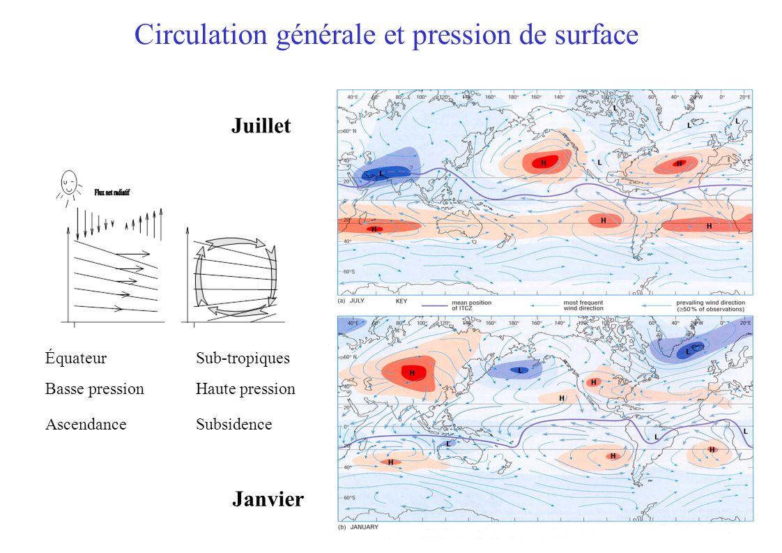 Circulation générale et pression de surface Équateur Basse pression Ascendance Sub-tropiques Haute pression Subsidence Janvier Juillet