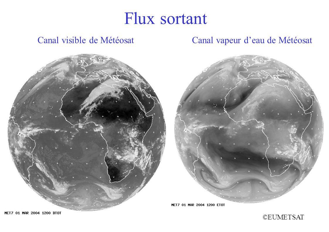 Flux sortant ©EUMETSAT Canal vapeur deau de MétéosatCanal visible de Météosat