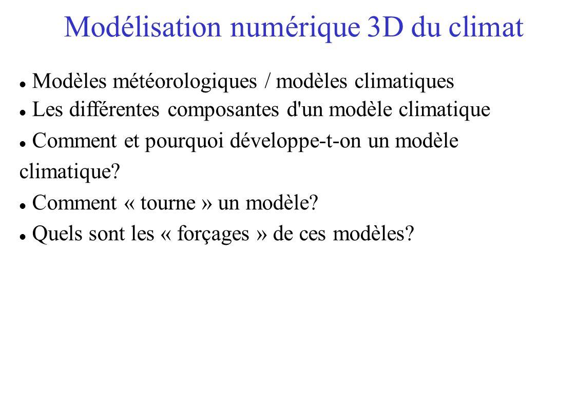 Modélisation numérique 3D du climat Modèles météorologiques / modèles climatiques Les différentes composantes d un modèle climatique Comment et pourquoi développe-t-on un modèle climatique.