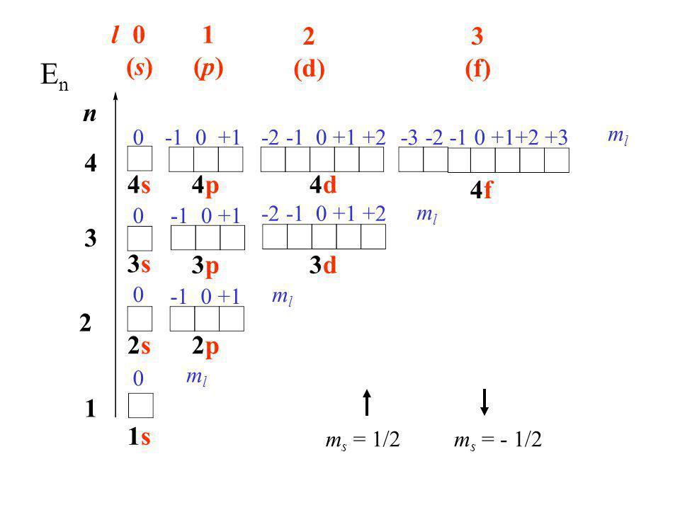 n 1 2 3 4 l0(s)0(s) 1(p)1(p) 2 (d) 3 (f) 0 0 -1 0 +1 0 0 -2 -1 0 +1 +2 -3 -2 -1 0 +1+2 +3 mlml 3s3s 2s2s 1s1s 4s4s 2p2p 3p3p 4p4p 3d3d 4d4d 4f4f mlml