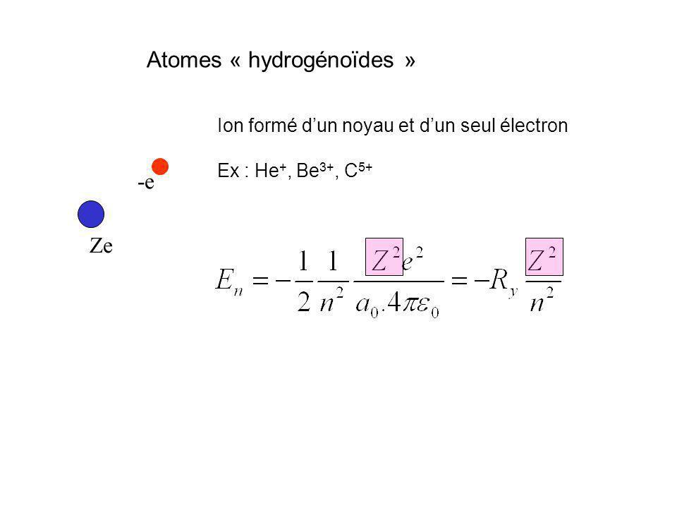 Atomes « hydrogénoïdes » Ze -e Ion formé dun noyau et dun seul électron Ex : He +, Be 3+, C 5+