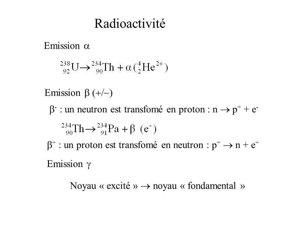 Radioactivité Emission - : un neutron est transfomé en proton : n p + + e - Emission Noyau « excité » noyau « fondamental » + : un proton est transfom