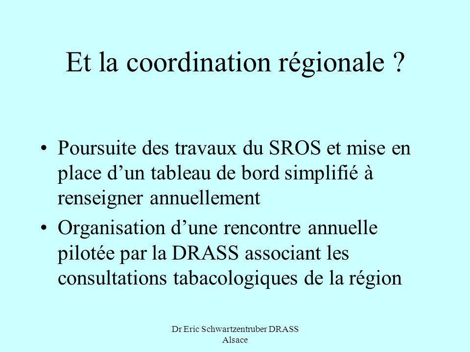 Dr Eric Schwartzentruber DRASS Alsace Et la coordination régionale ? Poursuite des travaux du SROS et mise en place dun tableau de bord simplifié à re