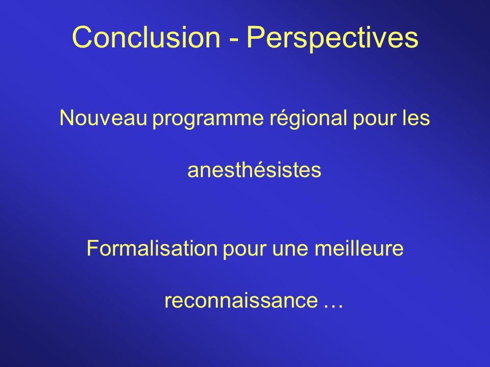 Conclusion - Perspectives Nouveau programme régional pour les anesthésistes Formalisation pour une meilleure reconnaissance …