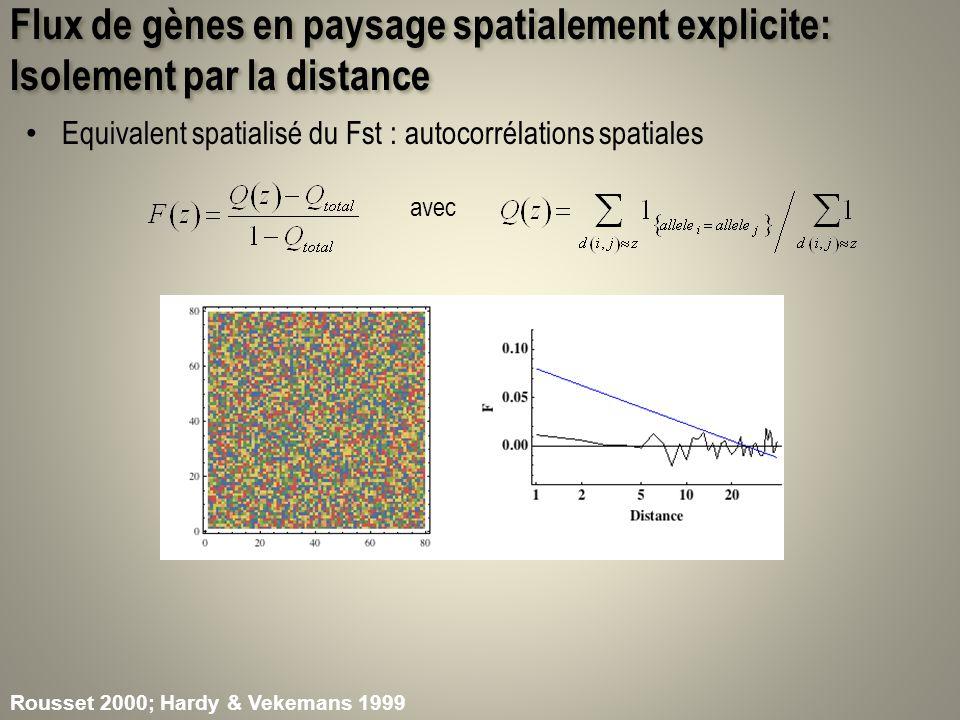 Flux de gènes en paysage spatialement explicite: Isolement par la distance Le noyau de dispersion est une fonction de densité (pdf) de la loi de la position du descendant relativement au parent – Échelle de la dispersion: 2 variance axiale de dispersion À léquilibre, en 2D, la relation entre lautocorrélation spatiale et le log(distance) est linéaire: d e =densité efficace (intégrant la variance de fertilité)) Seulement léchelle affecte la pente de lautocorrélogramme Propriété utilisée pour estimer la distance de dispersion dans des populations à léquilibre Rousset 2008