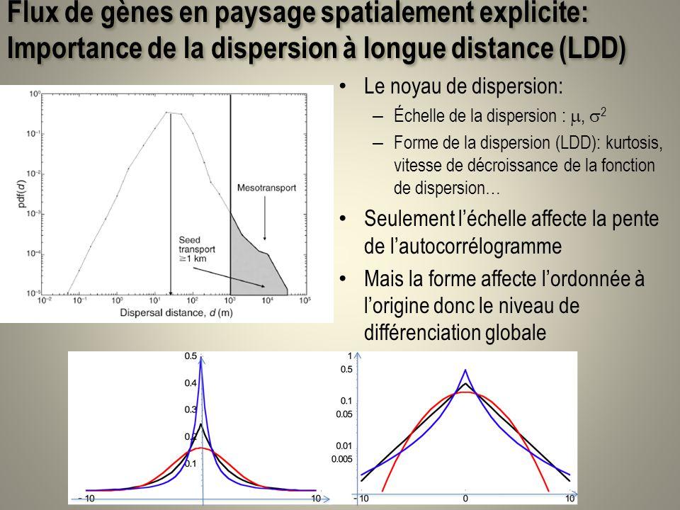 Flux de gènes en paysage spatialement explicite: Importance de la dispersion à longue distance (LDD) Le noyau de dispersion: – Échelle de la dispersio