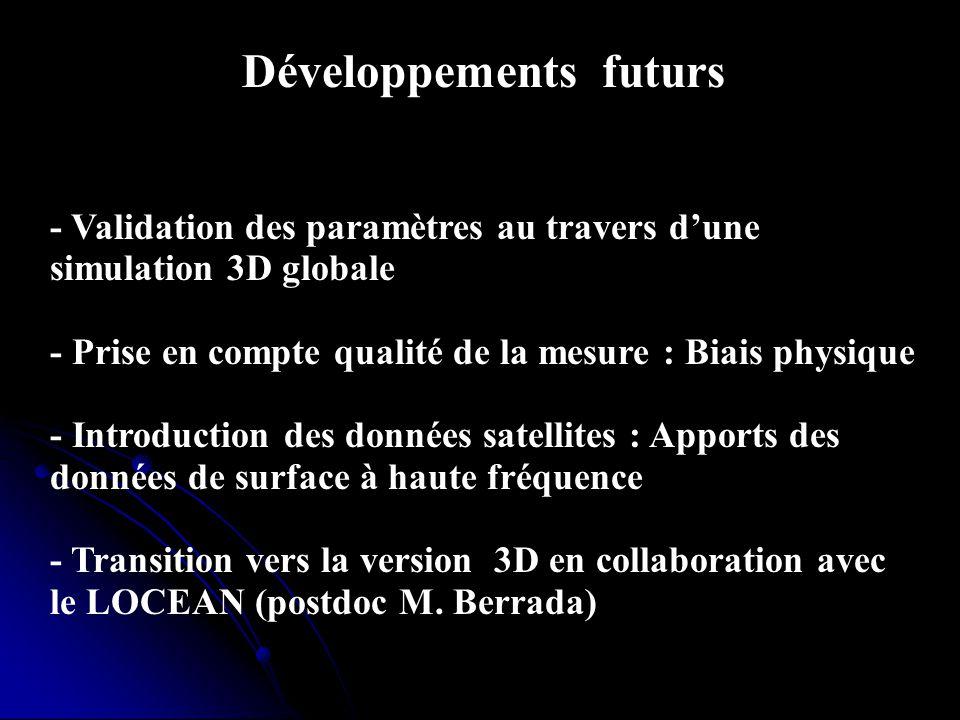 Développements futurs - Validation des paramètres au travers dune simulation 3D globale - Prise en compte qualité de la mesure : Biais physique - Intr