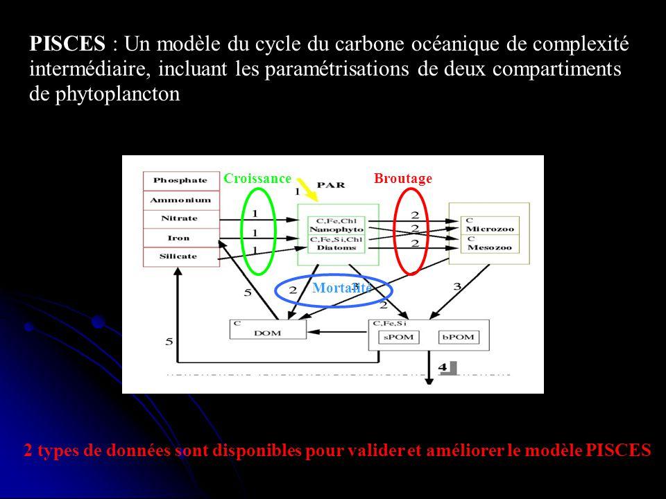 PISCES : Un modèle du cycle du carbone océanique de complexité intermédiaire, incluant les paramétrisations de deux compartiments de phytoplancton 2 t